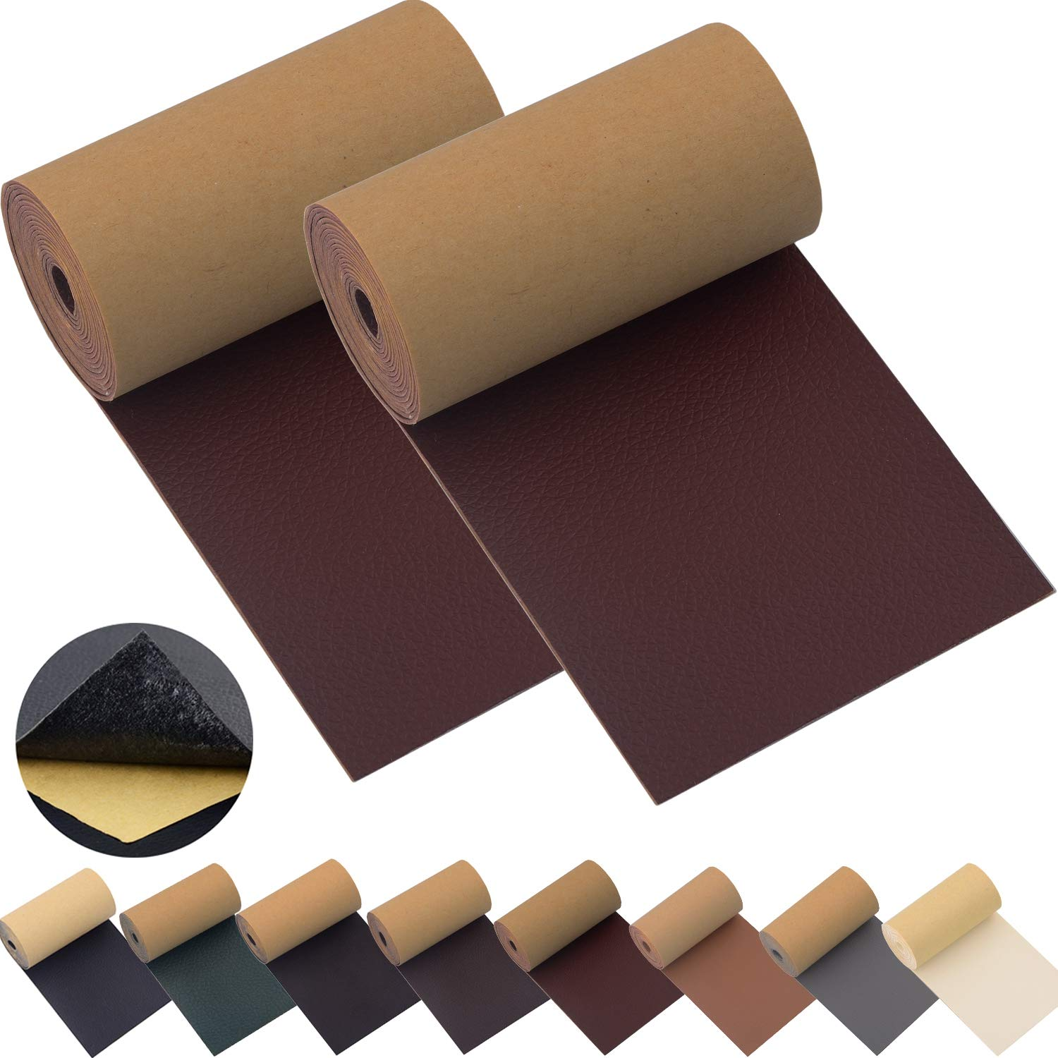 Leather Repair Patch Tape for Couches 2packs 3X55inch Self-Adhesive for Furniture Sofa Vinyl Car Seats Couch Chairs Shoes Down Jackets First Aid Patch Fix Tear Kit (M. Brown, 3X55 inch)