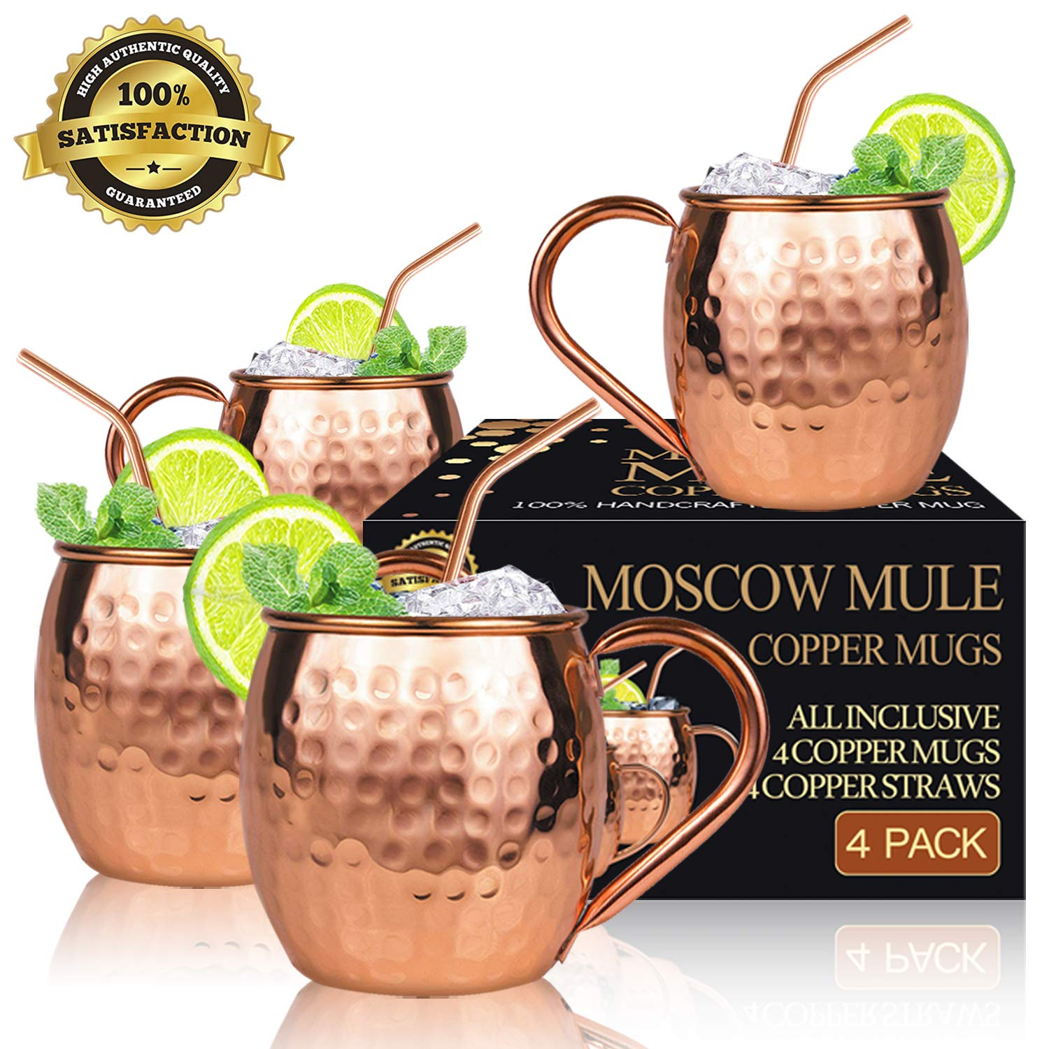 Crazestar Moscow Mule Copper Mugs 16 oz - Set of 4 - Gift Set with BONUS: 4 Highest Quality Cocktail Copper Straws - Food Safe Pure Solid Copper Mugs 100% Handcrafted by Crazestar