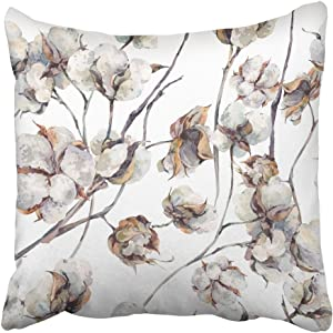 Emvency Throw Pillow Cover Square 20x20 Inches White Painting Watercolor Vintage with Twigs and Cotton Flowers Botanical Summer Plant Agriculture Polyester Decor Hidden Zipper Print On Pillowcases