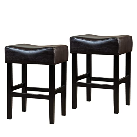Fabulous Christopher Knight Home 295961 Adler Set Of 2 Brown Leather Backless Counter Stool Cjindustries Chair Design For Home Cjindustriesco