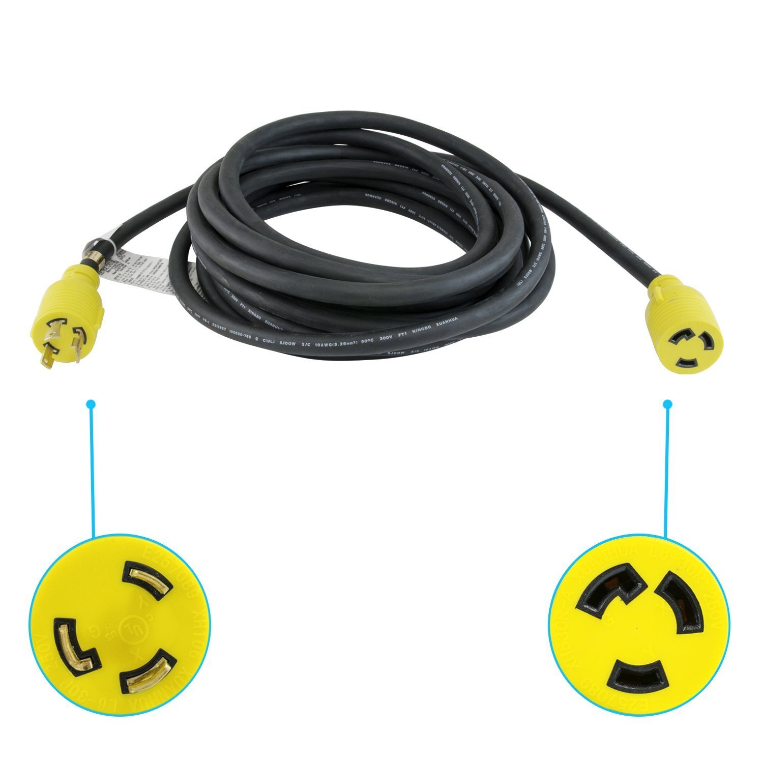 Houseables Extension Cord, Electric Wire, 3 Prong, 30 Amp, 250 Volt, Single, Black, 25 Ft, All Rubber, 10 Gauge, Heavy Duty, L6-30, Commercial, Electrical Power, Generator Cable, With Locking Switch