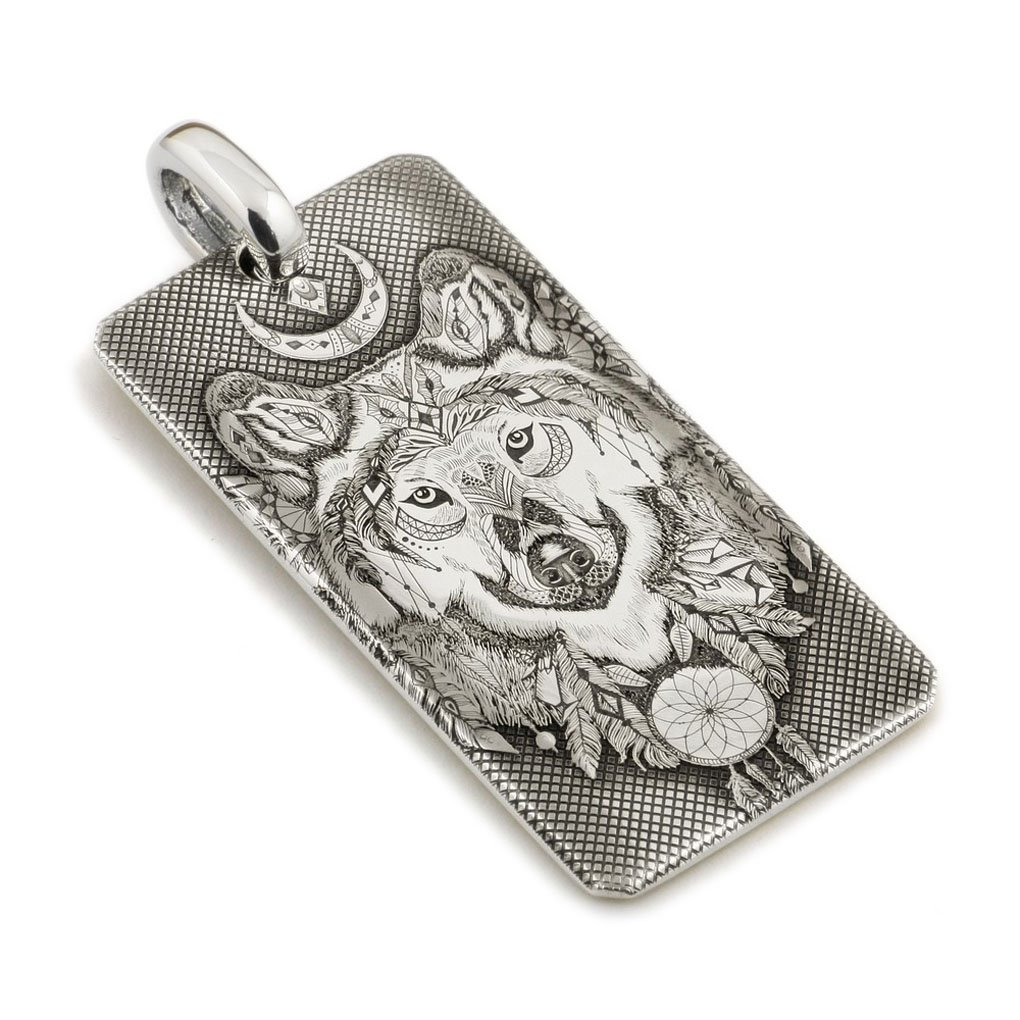 LINSION Life-like American Indian Wolf Dogtag 999 Sterling Silver Mens Christmas Gift 9X031S (50MM25MM)