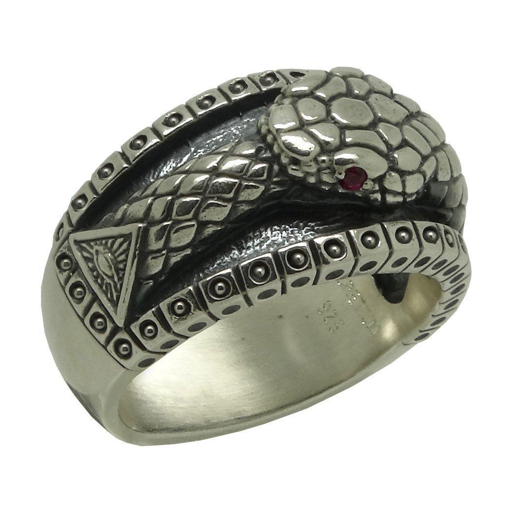 Masonic All Seeing Eye Pyramid Vintage Illuminati Ouroboros Biker Band Sterling Silver 925 Mens Ring , Ruby color stones