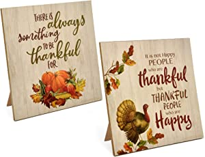 Thanksgiving Centerpiece Tabletop Decor Set of 2 Harvest Blessings Plaque with Easel Fall Pumpkin Cornucopia Turkey Autumn Table Topper for Fireplace Mantle Desk Shelf Kitchen Living Room Home Accents