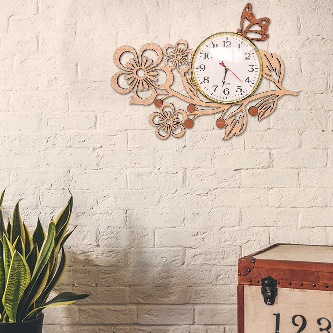 Giftgarden Butterfly Wall Clocks in Wood Five Petaled Flowers
