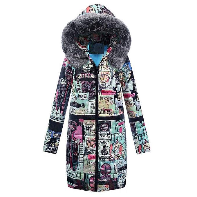 Abrigo Mujer Invierno Rebajas,EUZeo Chaqueta Suéter Impreso más Grueso Abrigo Mujer Caliente y Esponjoso