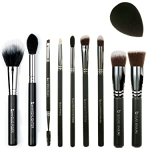 Best of Beauty Junkees 10pc Makeup Brush Set Includes Flat Top Kabuki, Round Kabuki, mini Tapered, mini Angled, Tapered Blending, Pencil, Brow, Duo Fiber, Highlighter, Black Teardrop Makeup Sponge