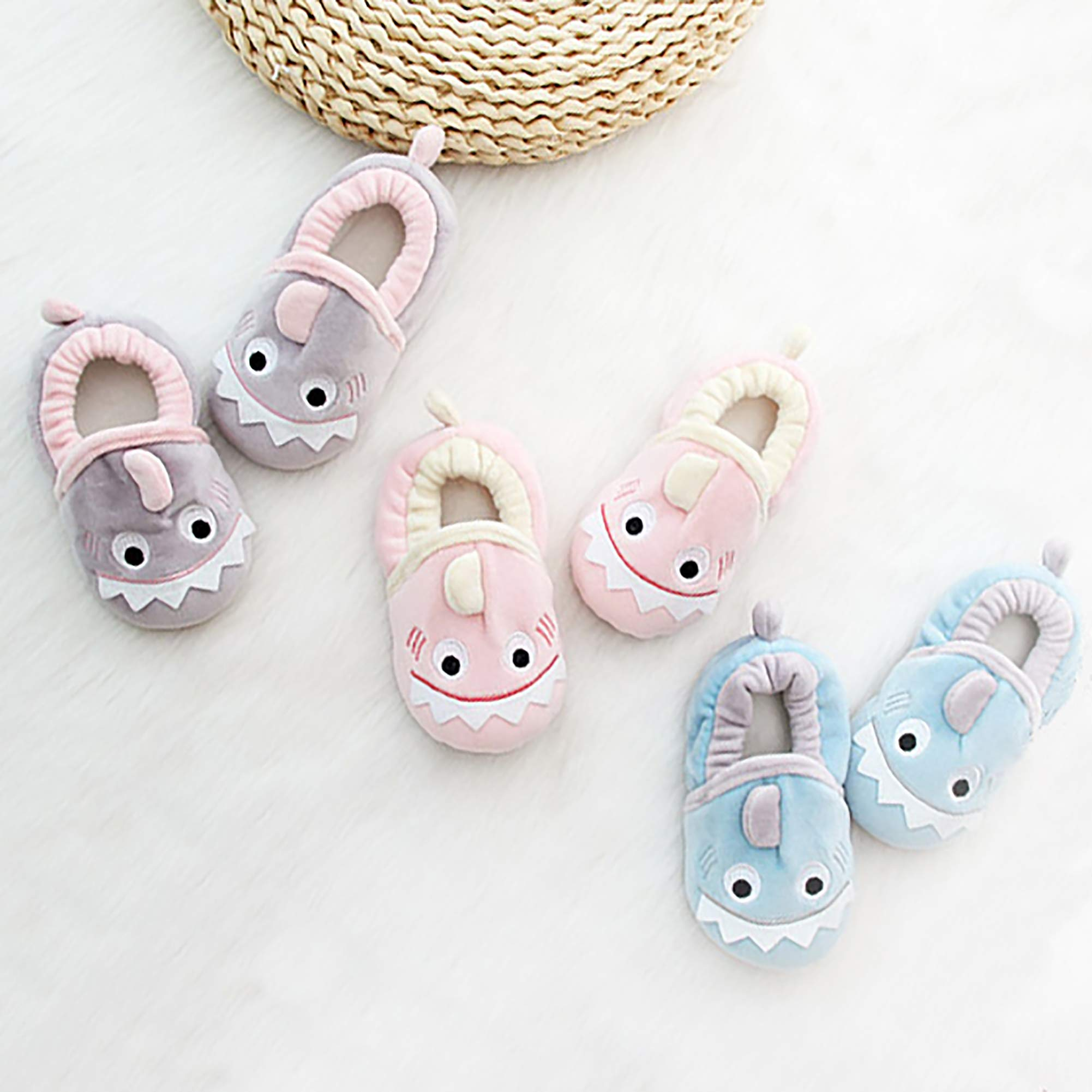 SDBING Toddler Baby Boys Girls Cute Cartoon Shark Shoes Soft Anti-slip Winter Home Slippers 6-24 Months (12-18 Months, Cute Shark Pink) by SDBING (Image #6)