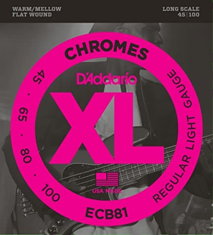 D'Addario ECB81 Chromes Bass Guitar Strings, Light, 45-100, Long Scale (Flat Bass Guitar Strings)