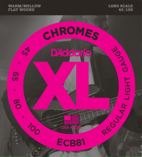 D'Addario ECB81 Chromes Bass Guitar Strings, Light, 45-100, Long - Chrome Strings Bass 4