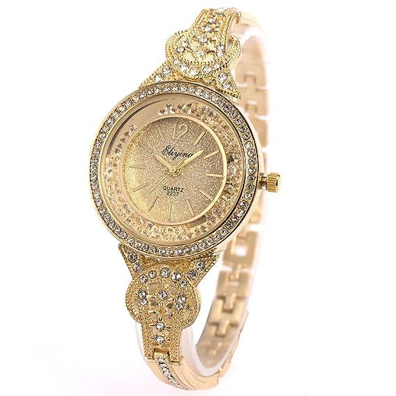 df65072c4649 SIBOSUN Lady Women Wrist Watch Quartz Gold Stainless Steel Crystal Dress Fashion  Bracelet