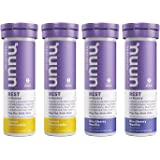 Nuun Rest: Rest and Recovery Drink Tablets, Magnesium Citrate, Tart Cherry, Electrolytes - Lemon Chamomile + Blackberry Vanilla - 4 Tubes (40 Servings) (packing may vary)