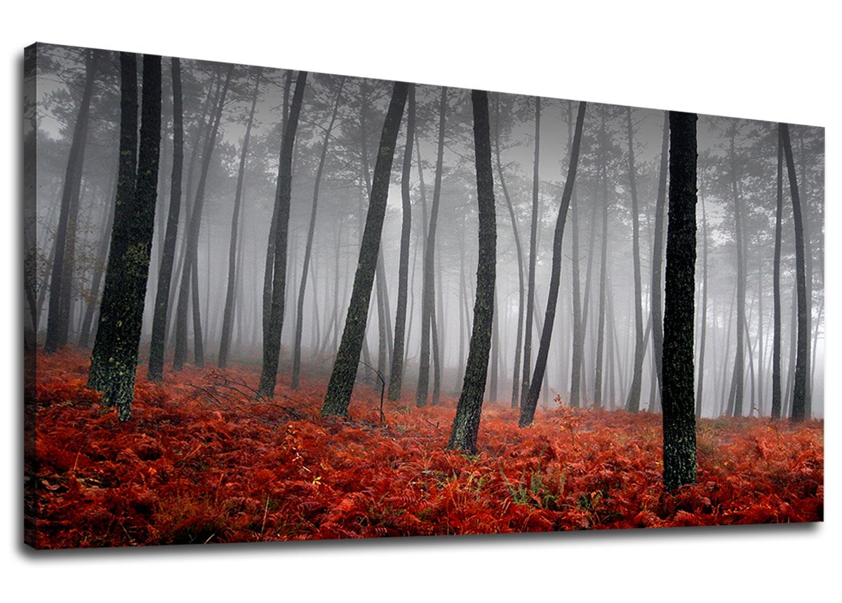 Yearainn Canvas Wall Art Forest Mist With Red Trees Panoramic Black And White Woods Scenery Painting Long Canvas Artwork Contemporary Nature Picture