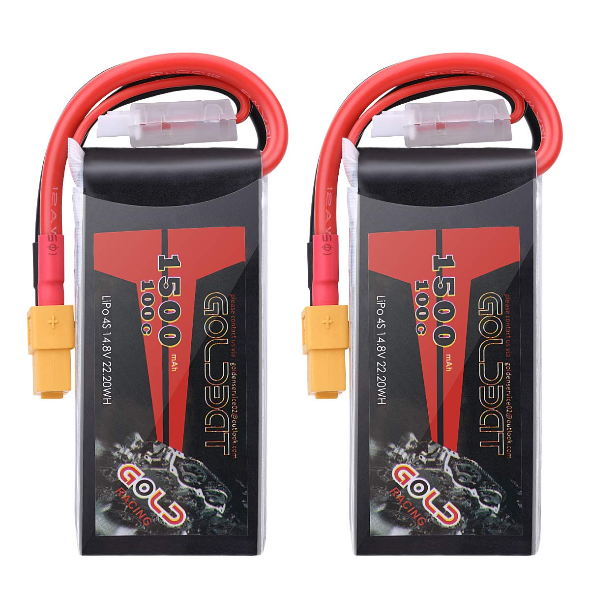 GOLDBAT 1500mAh 4S 100C 14.8V Softcase Lipo Battery Pack with XT60 Plug for RC Car Truck Boat Heli Airplane UAV Drone FPV Racing (2 Packs)
