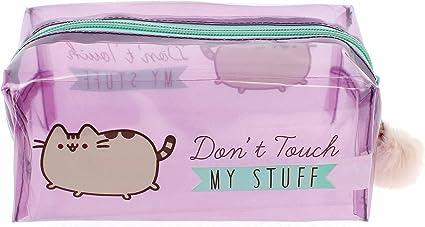 Estuche oficial de Pusheen con texto en inglés: Dont Touch My Stuff con pompón rosa: Amazon.es: Oficina y papelería