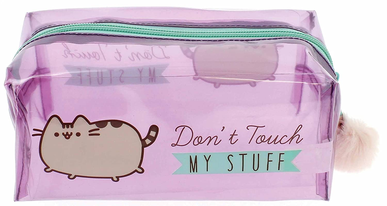 Official Pusheen Don't Touch My Stuff Pencil Case with Pink Pom Pom Blueprint Collections
