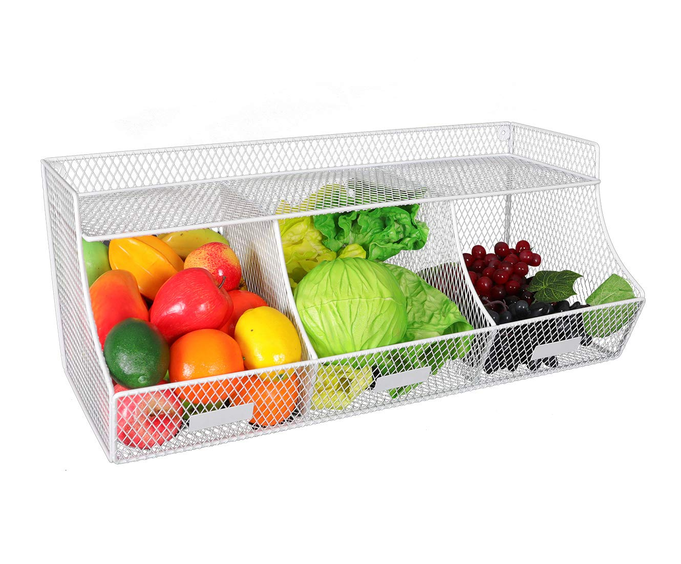TQVAI Large Wall Mounted Fruit Basket Hanging Kitchen Storage Bin No Assembly Required, White