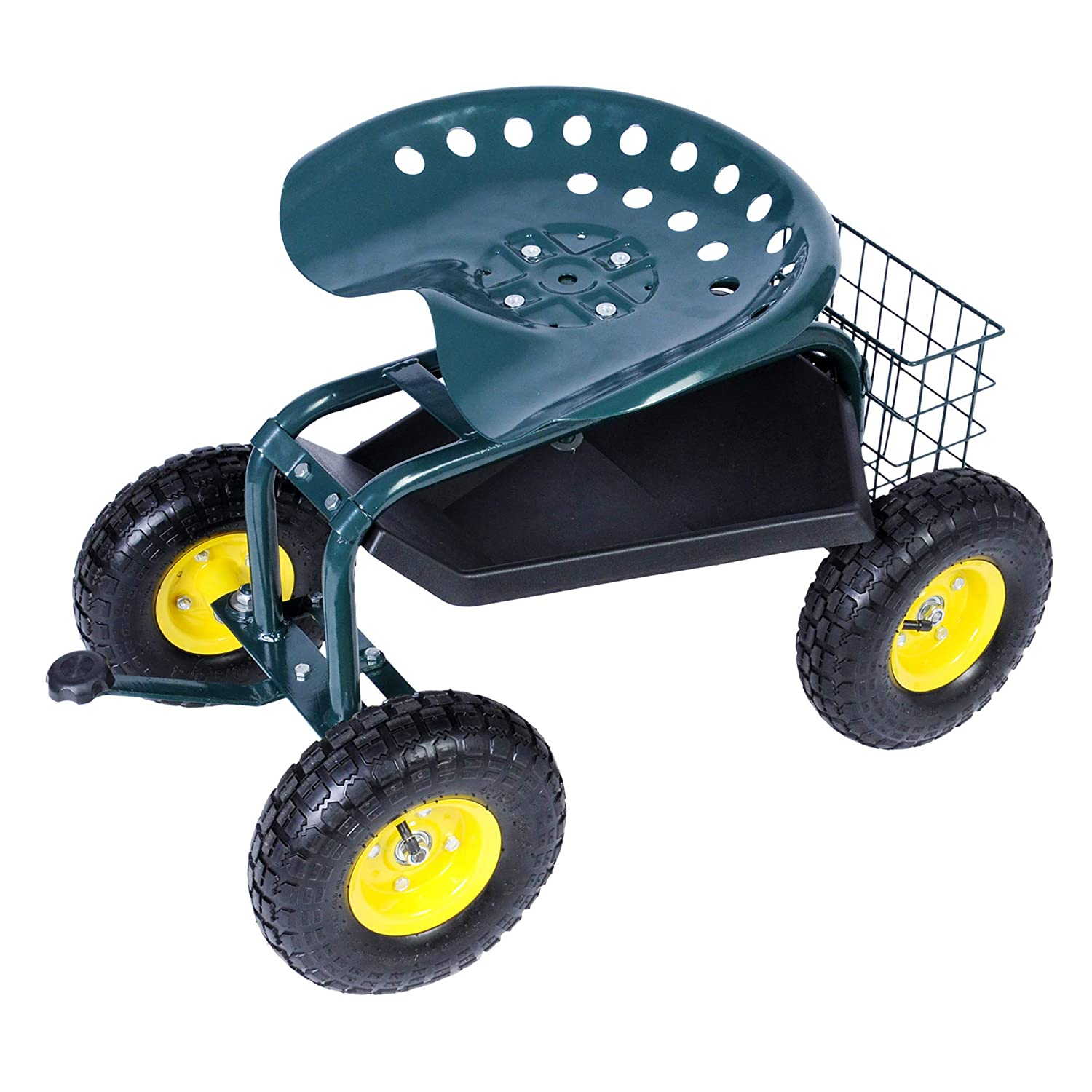 KARMAS PRODUCT Steerable Rolling Work Seat Garden Stool Cart with Tool Tray and Storage Basket Heavy Duty Scooter Green