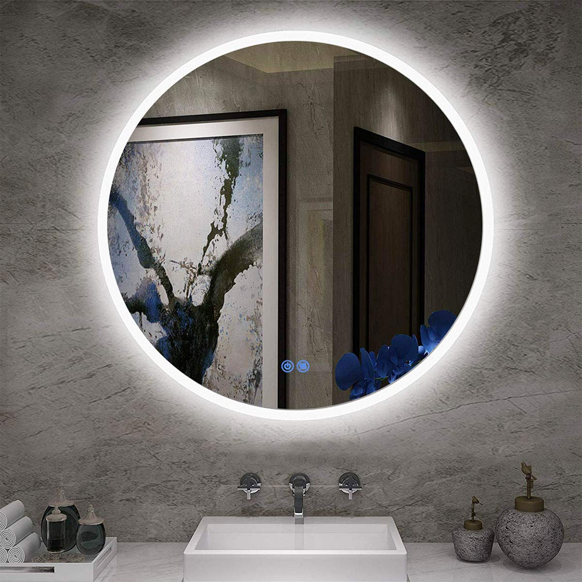 LStripM Bathroom LED Lighting Mirror R24' With Anti-fog Function Wall Mounted Backlit Thickness 5MM Round Dimmable Touch Button 6000k(Cold White)Makeup Vanity Mirror Over Cosmetic Bathroom Sink