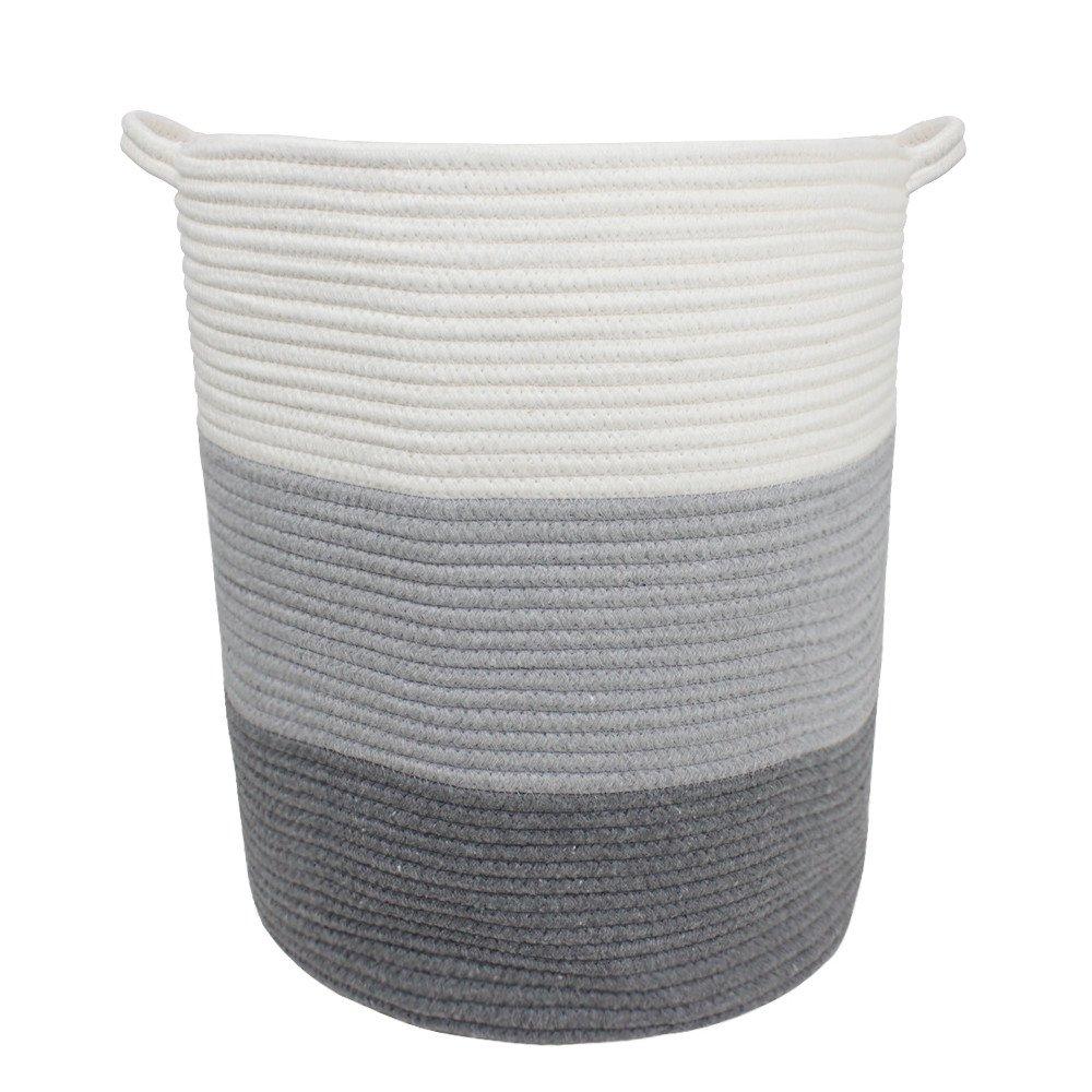 "18"" x 16"" Extra Large Storage Baskets Cotton Rope Woven Nursery Bins by Orino"