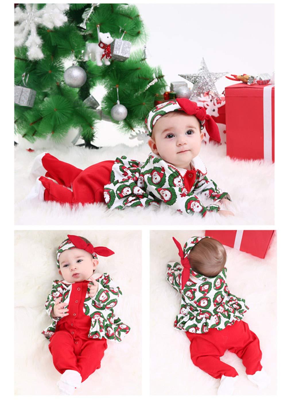 QSEFT® - Pelele de algodón + Diadema 2 Piezas de Manga Larga para recién Nacido, Traje de Navidad, Disfraz de Papá Noel, Ropa de bebé: Amazon.es: Deportes y ...