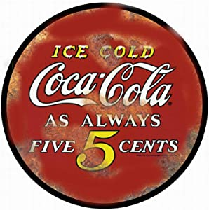 Ufcell Vintage Tin Metal Sign Tin Sign Coca Cola 5 Cents Funny Wall Decor Art 12 Inch Round Sign
