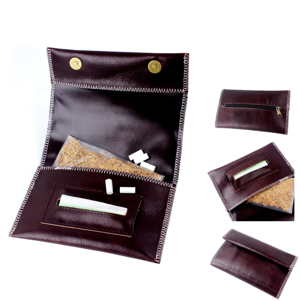 NEW Genuine Leather Hookah Cigarette Tobacco Pouch Case Wallet Rolling Tip Paper Holder Slot CL42 (brown-B)