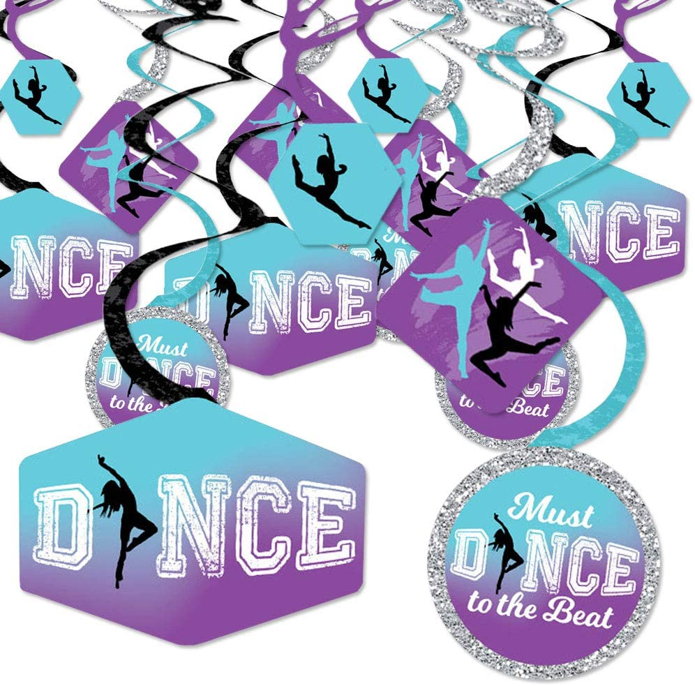 Big Dot of Happiness Must Dance to the Beat - Dance - Birthday Party or Dance Party Hanging Decor - Party Decoration Swirls - Set of 40