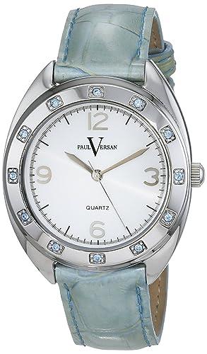 Paul Versan Reloj Análogo clásico para Mujer de Cuarzo con Correa en Cuero PV6901: Amazon.es: Relojes