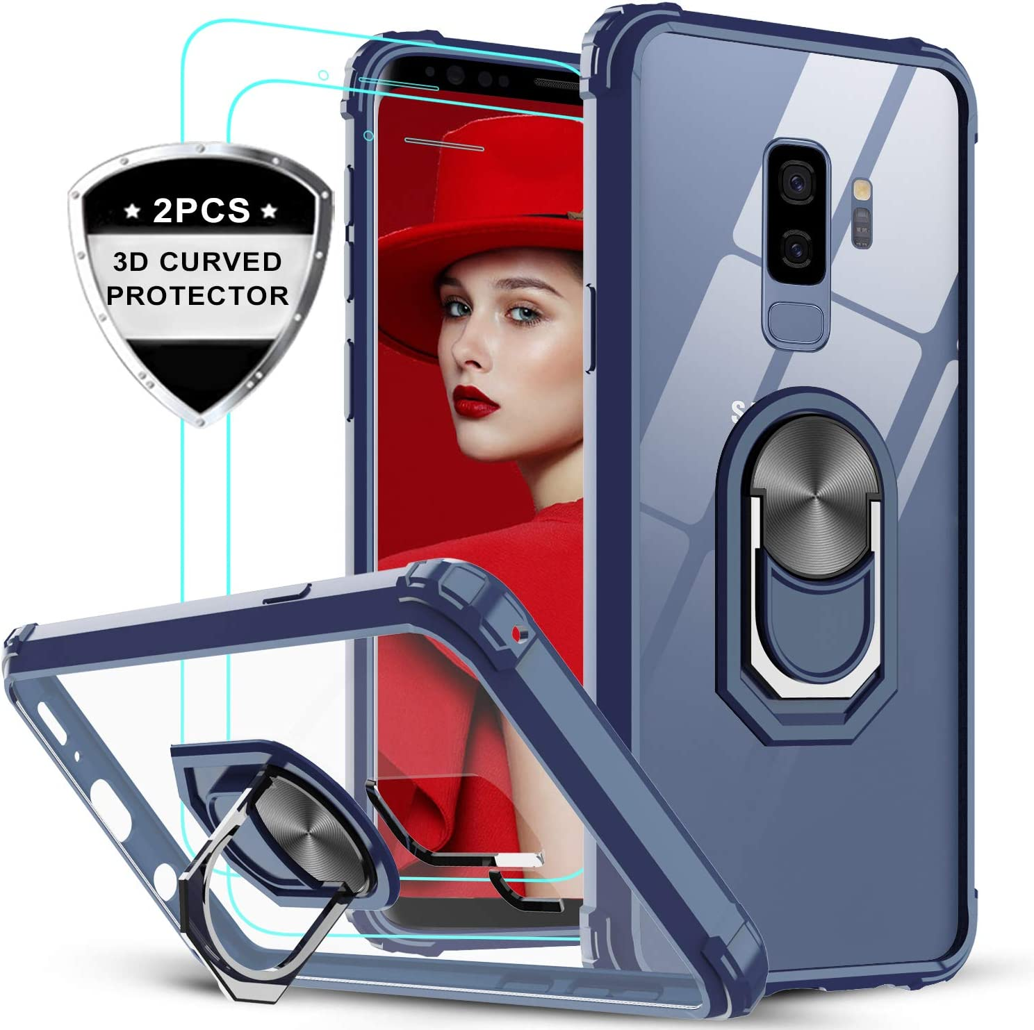 LeYi Samsung Galaxy S9 Plus Case with 3D Curved Screen Protector [2 Pack], [Military Grade] Clear Crystal Protective Phone Cover Case with Magnetic Ring Car Mount Kickstand for Samsung S9 Plus, Blue