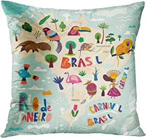 Sgvsdg Throw Pillow Covers Monkey Childish Cute Funny Baby Child Map Brazil Brazilian Symbols Icons Square Hidden Zipper Home Sofa Living Room Cushion Decor Pillowcases 20 x 20 Inch
