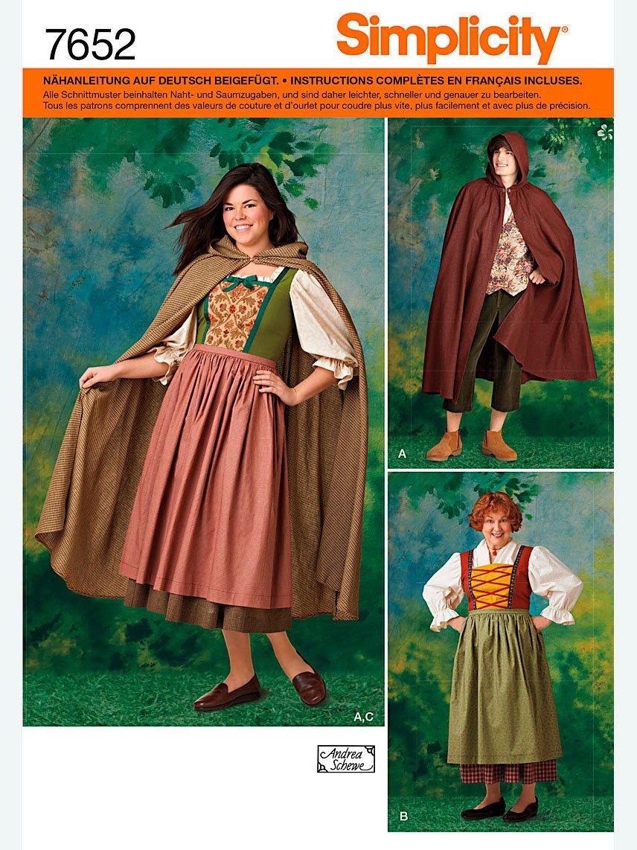 Simplicity Schnittmuster 7652.A Kostüm mit Umhang: Amazon.de: Küche ...