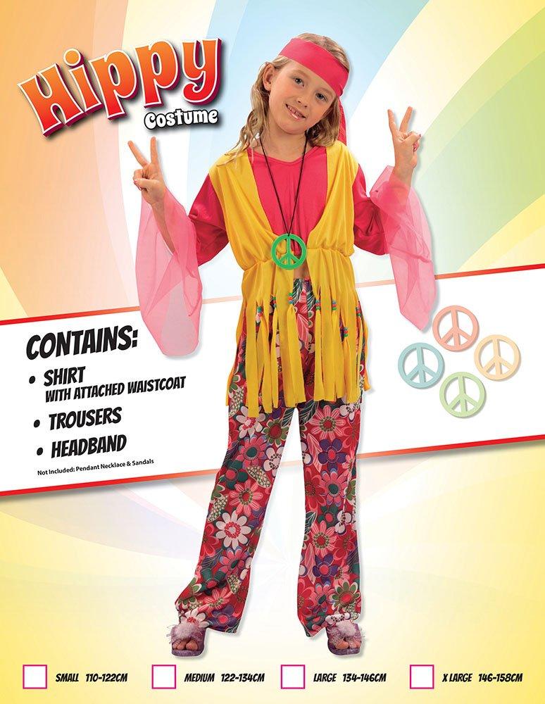 Bristol Novelty Traje Niña Hippie (XL) Edad aprox 9-11 años ...