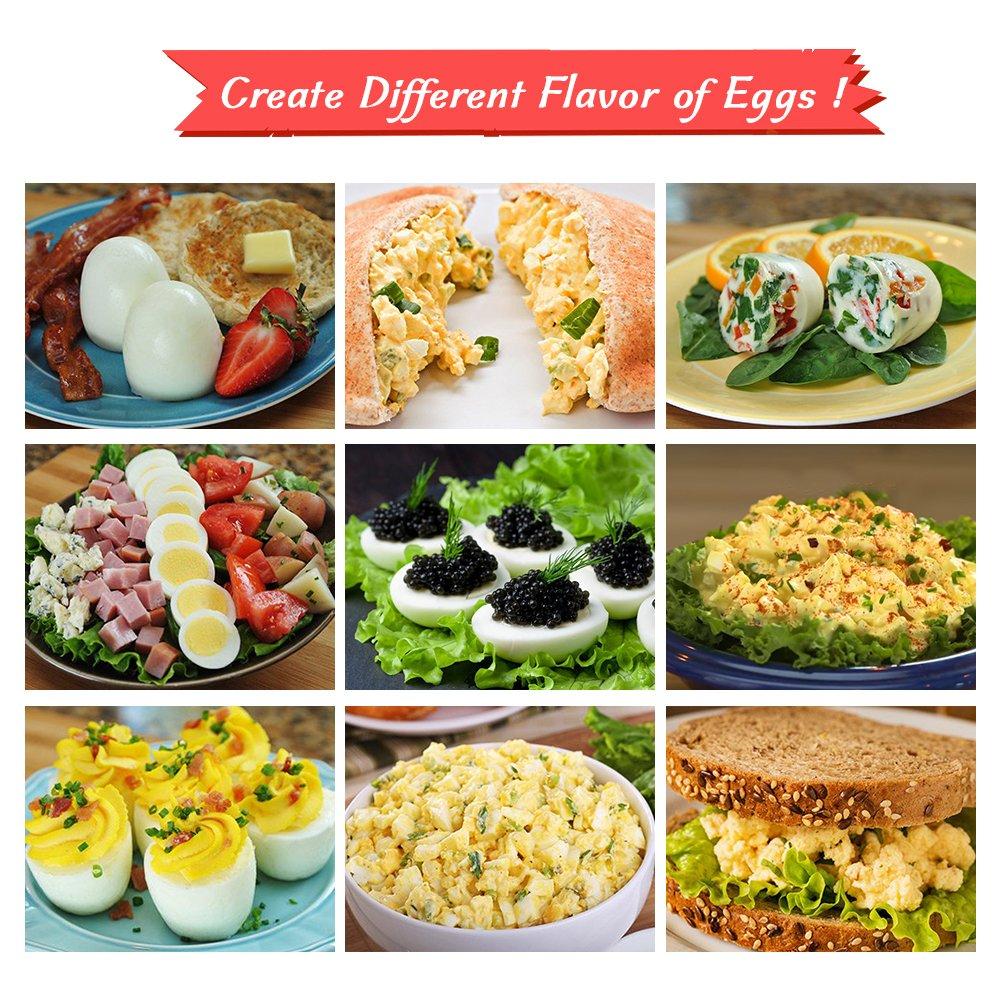 GESUNDHOME Egg Cooker Set de 6 - Silicona Hervidor de Huevos ...