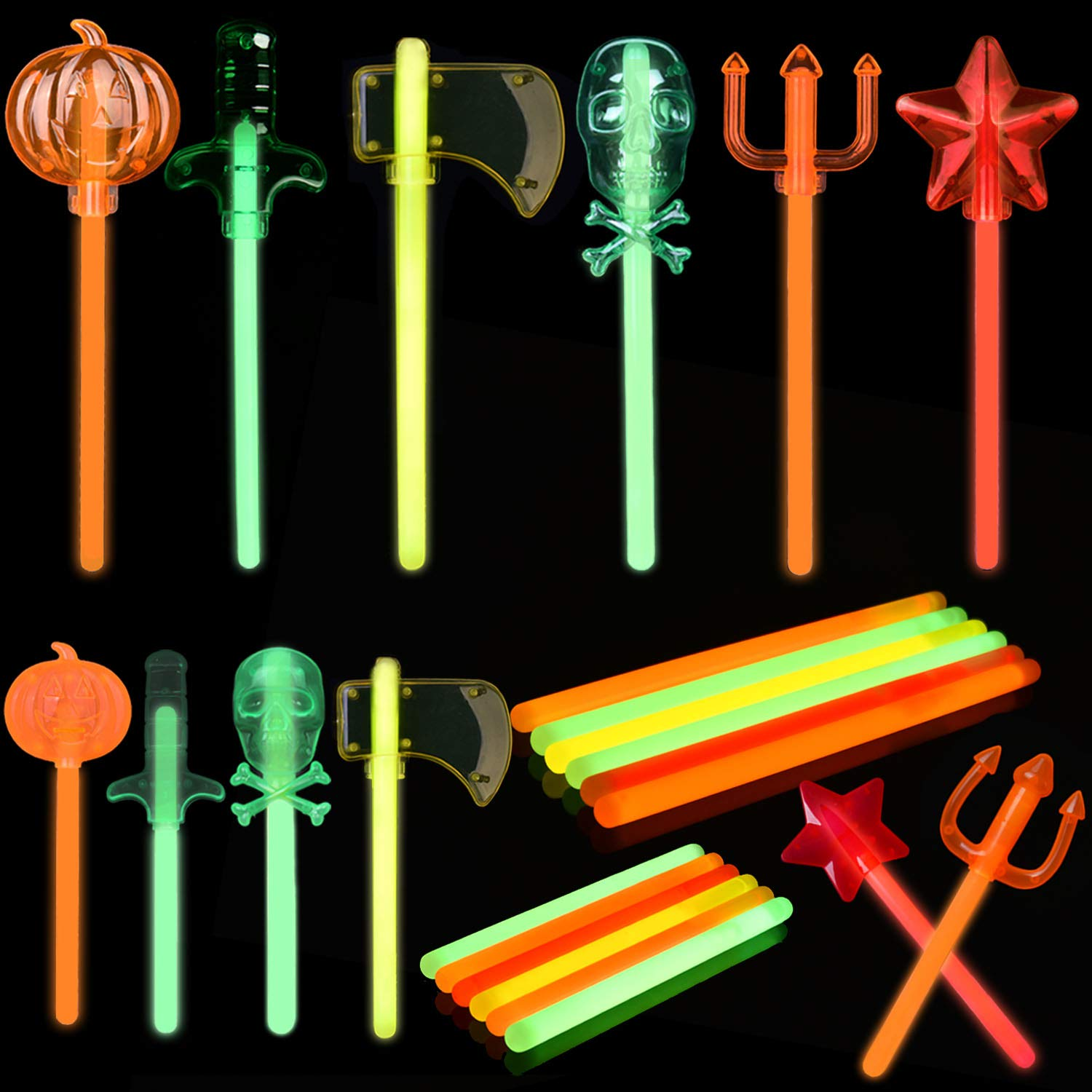 Glow Sticks Bulk for Halloween Party Favors, Halloween Decorations and Glow in The Dark Party Supplies by FUN LITTLE TOYS