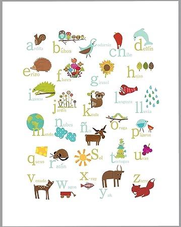 Nature Themed Spanish Alphabet Wall Art Print 11x14 Nursery Decor Kidu0027s Wall  Art Print Kidu0027s Room Part 54
