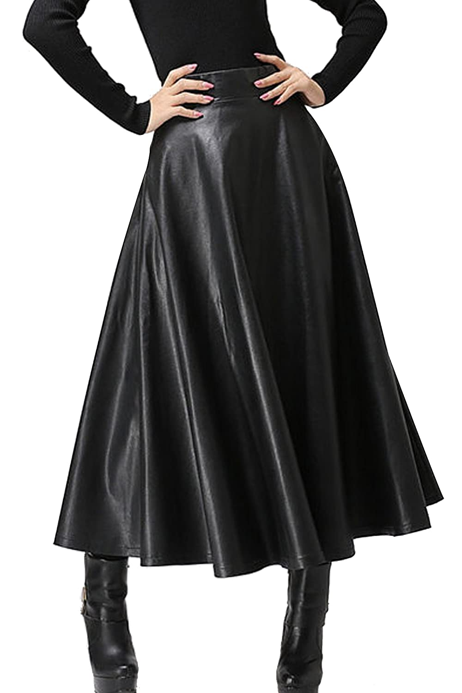 Zeagoo Women's Synthetic Leather High Waist Midi Long A-Line Swing ...