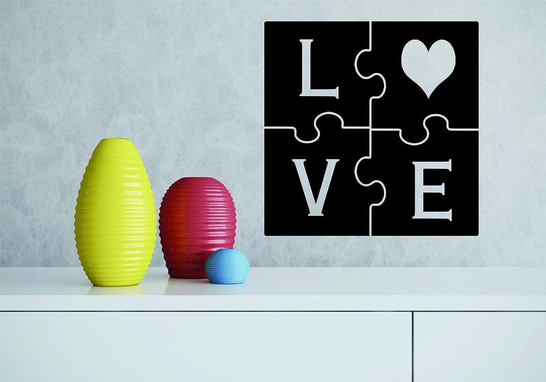 Design with Vinyl RAD 858 3 Love Heart Puzzle Piece Design Wall Decal Black 20 x 20