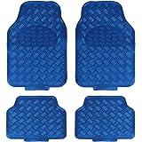 JVL Titan Metallic Universal Rubber Backed Car Mat Set, 4 Pieces, Blue