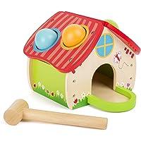 Small Foot Casa martellare, in Un Bel Design Quattro Palline Colorate ed Un Martello di Legno, Allena Le capacità motorie e la destrezza, per i Bambini dai 18 Mesi in su. Giocattoli,, 11084