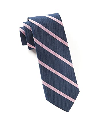 93901ccaff02 The Tie Bar 100% Woven Silk Trad Stripe Navy and Pink Skinny Tie at Amazon  Men's Clothing store: