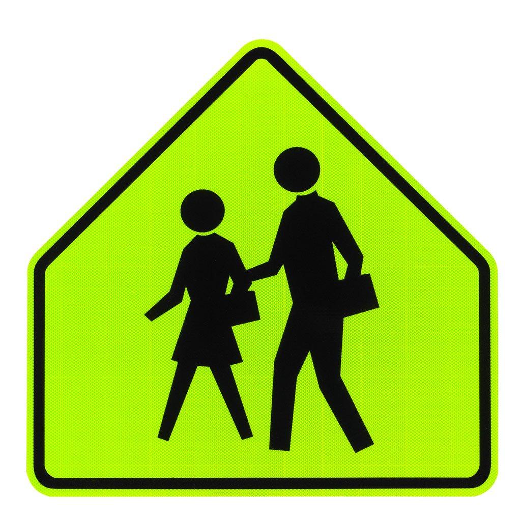 Elderlee, Inc. 9830.11003 School Crossing Sign  3M Diamond Grade Ultra Fluorescent Yellow/Green  30 Inch 3M High Intensity Reflective Sheeting, 3-Pack