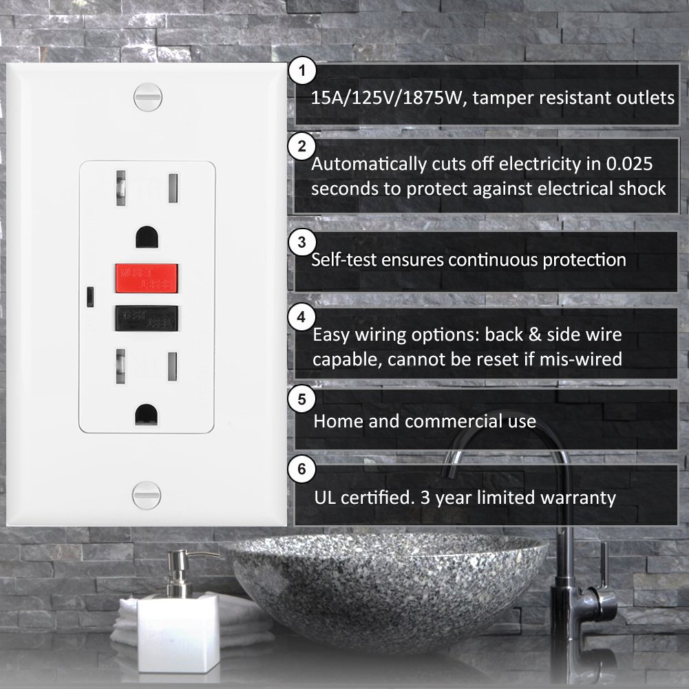 Bestten Self Test Tamper Resistant Gfci Receptacle Outlet With Led Wiring Ground Fault Indicator Circuit Interrupter