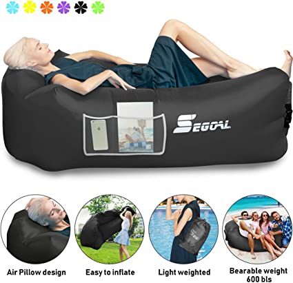 Inflatable Lounger Air Sofa Pouch Inflatable Couch Air Chair Hammock with Pillow Portable Waterproof Anti-Air Leaking for Indoor/Outdoor Camping ...