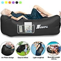 $27 » SEGOAL Inflatable Lounger Air Sofa Pouch Inflatable Couch Air Chair Hammock with Pillow…