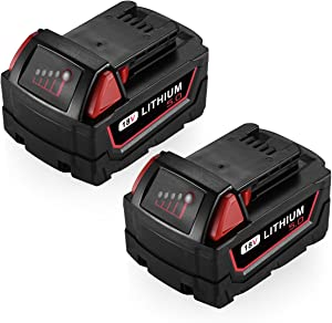 Powerextra 18V 5.0AH Replacement Battery Compatible with Milwaukee 48-11-1852 M18 LITHIUM XC 5.0 Ah M18B 48-11-1850 48-11-1852 48-11-1820 M18 Battery 2Pack