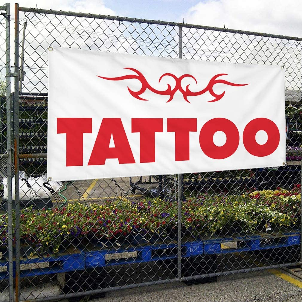 Vinyl Banner Multiple Sizes Tattoo Outdoor Advertising Printing S Business Outdoor Weatherproof Industrial Yard Signs White 10 Grommets 60x144Inches
