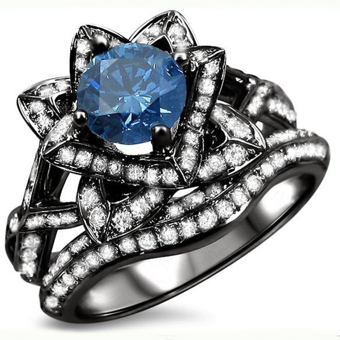 Smjewels 2.05 Ct Blue Round Sim.Diamond Lotus Flower Engagement Ring Set 14K Black Gold Plated
