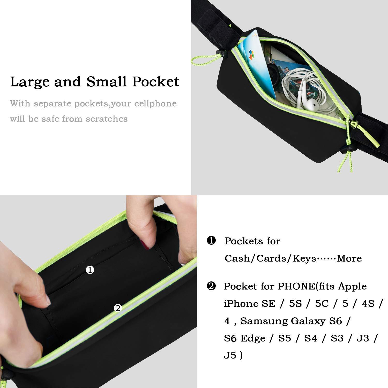 IDAND Running Belt Waist Pack Water Resistant Runners Belt Fanny Pack for Women Men Runners Hiking Stylish Fitness Adjustable Running Pouch Workout Belt Waist Pack for iPhone Xs//XR//8 Plus