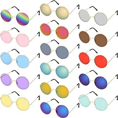 Amazon.com: 16 pares de copas redondas hippie coloridas ...